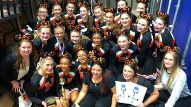 Photo of Hackettstown HS varsity competition cheer team wins 2 bids to nationals