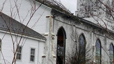 Photo of Tree damages the First Presbyterian Church in Hackettstown