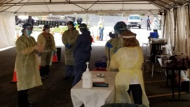 Photo of 41 tested on 1st day of Warren County's drive-thru COVID-19 testing center