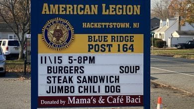 Photo of Local businessmen donate new sign to Hackettstown American Legion Blue Ridge Post 164