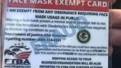 Photo of BBB warning: Mask exemption cards are fake