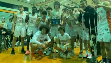 Photo of Hackettstown Boys Basketball team wins first-ever sectional championship title