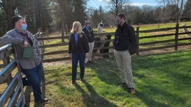Photo of Hunterdon County Freeholders visit with owners and llamas at WoodsEdge Farm as economic tour continues