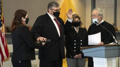 Photo of Robert J. Carroll sworn in as acting Morris County prosecutor
