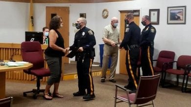 Photo of Mansfield Township officers recognized for saving man holding knife to throat