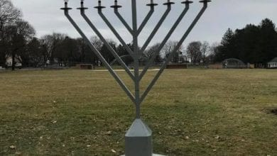 Photo of Menorah vandalized in Mendham Borough