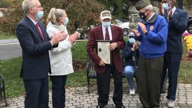 Photo of Korean War Veteran honored by Morris County Freeholders, Mount Arlington officials