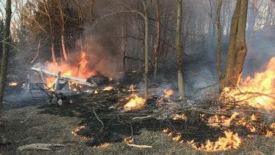 Photo of Brush fire destroys shed in Andover Twp.