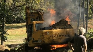 Photo of Excavator catches fire in Liberty Twp.  (VIDEO & PHOTOS)